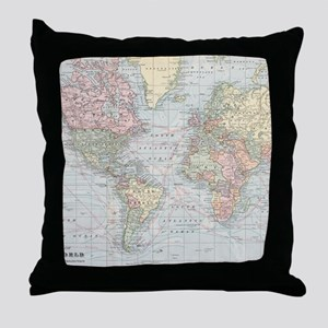 Vintage World Map (1901) Throw Pillow
