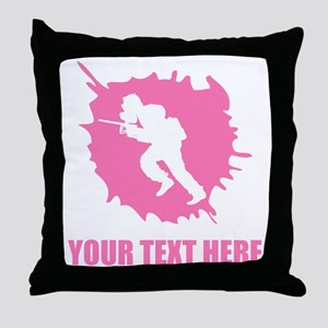 Pink Paintball Player Splatter Throw Pillow