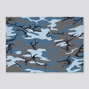 Blue Camouflage 5'x7'Area Rug