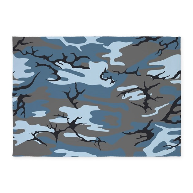 Blue Camouflage 5'x7'Area Rug By SlackerLand