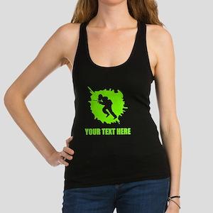 Neon Green Paintball Player Splatter Racerback Tan