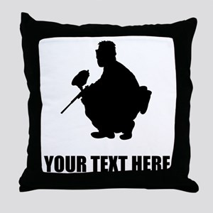 Paintball Player Silhouette Throw Pillow