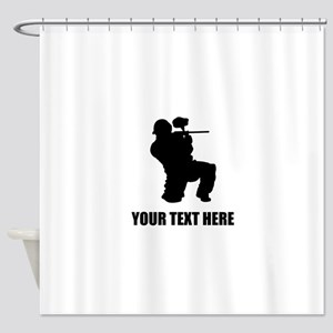 Paintball Player Silhouette Shower Curtain