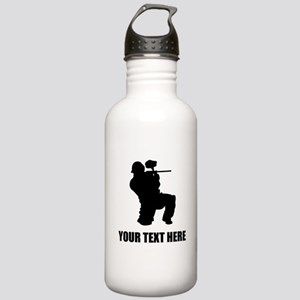 Paintball Player Silhouette Water Bottle