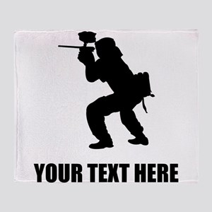 Paintball Player Silhouette Throw Blanket