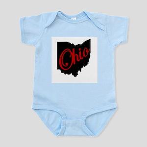 Black Ohio Red Script Body Suit