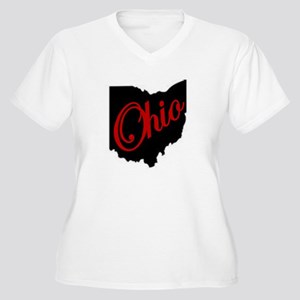 Black Ohio Red Script Plus Size T-Shirt