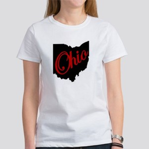 Black Ohio Red Script T-Shirt