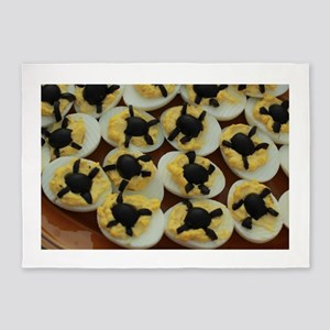 Halloween party deviled eggs with o 5'x7'Area Rug
