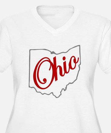Scarlet and Gray Script OH Plus Size T-Shirt
