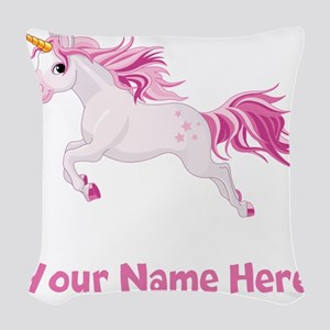 Pink Unicorn Woven Throw Pillow