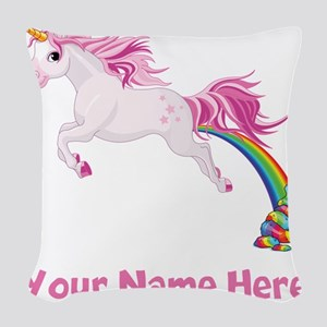 Unicorn Pooping Woven Throw Pillow