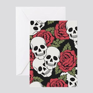 Skulls and Roses Greeting Cards