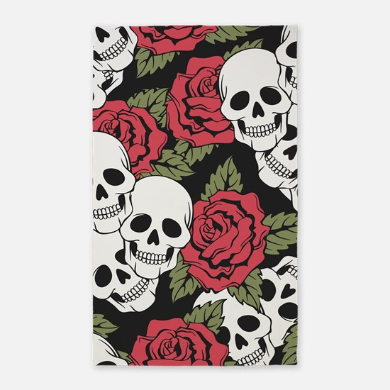 Skulls and Roses Area Rug