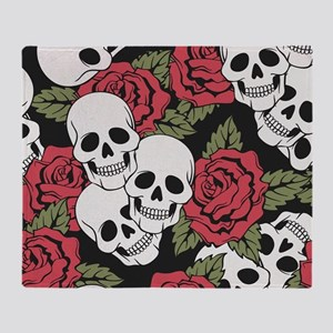 Skulls and Roses Throw Blanket