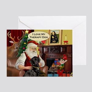 Santa's black Lab (TH) Greeting Card