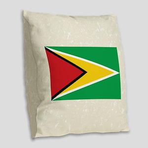 Guyanan Flag Burlap Throw Pillow