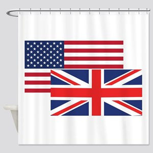 American And British Flag Shower Curtain