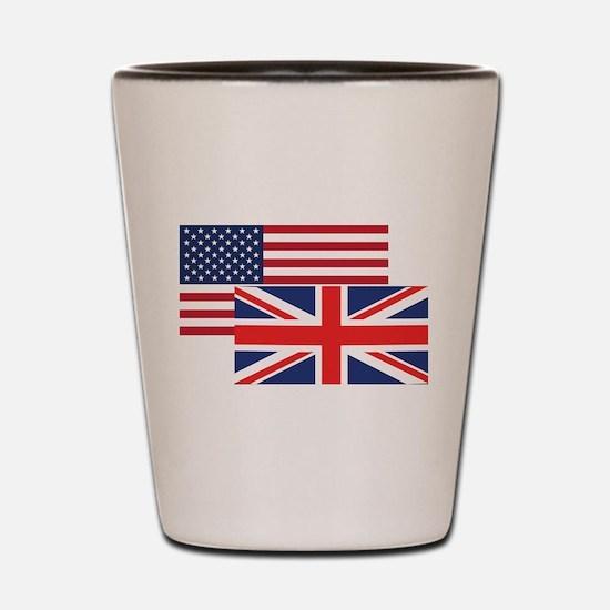 American And British Flag Shot Glass