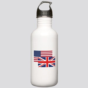 American And British Flag Water Bottle