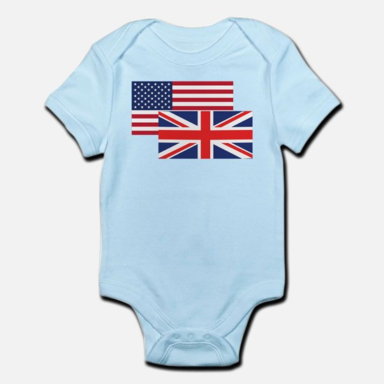 American And British Flag Body Suit