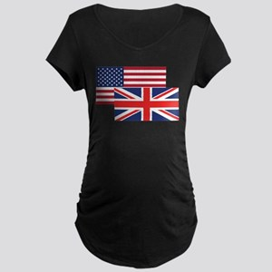 American And British Flag Maternity T-Shirt