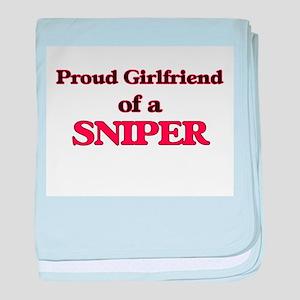 Proud Girlfriend of a Sniper baby blanket
