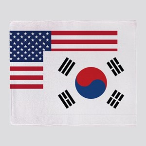American And South Korean Flag Throw Blanket