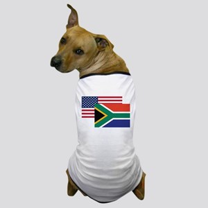 American And South African Flag Dog T-Shirt