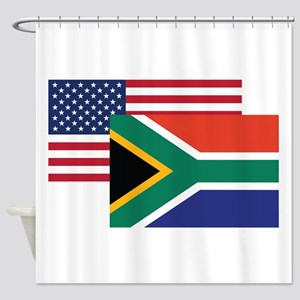 American And South African Flag Shower Curtain