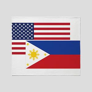 American And Filipino Flag Throw Blanket