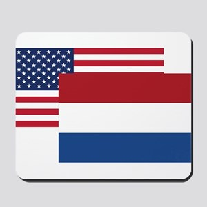 American And Dutch Flag Mousepad