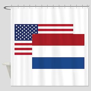 American And Dutch Flag Shower Curtain