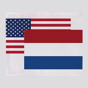 American And Dutch Flag Throw Blanket