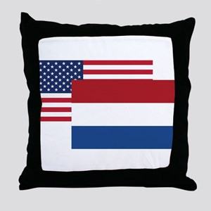 American And Dutch Flag Throw Pillow