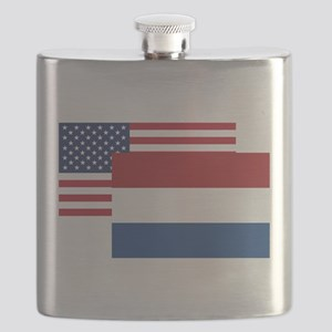 American And Dutch Flag Flask