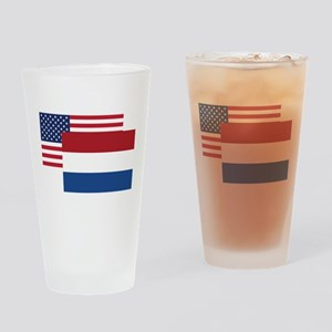 American And Dutch Flag Drinking Glass