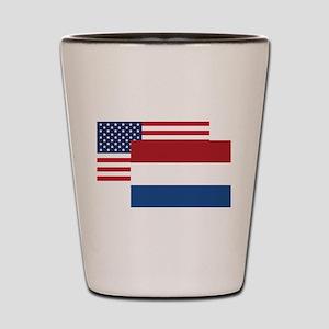 American And Dutch Flag Shot Glass