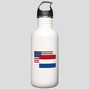 American And Dutch Flag Water Bottle