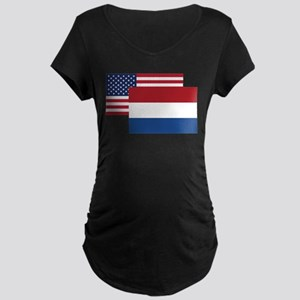 American And Dutch Flag Maternity T-Shirt