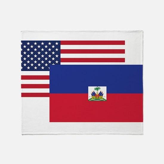 American And Haitian Flag Throw Blanket