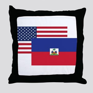 American And Haitian Flag Throw Pillow