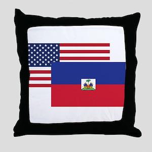 American And Haitian Flag Throw Pillow
