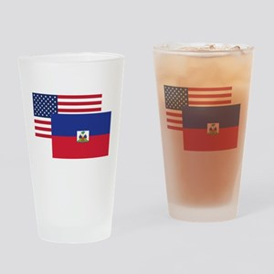 American And Haitian Flag Drinking Glass