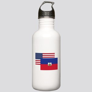 American And Haitian Flag Water Bottle