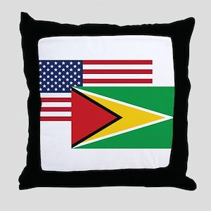 American And Guyanan Flag Throw Pillow