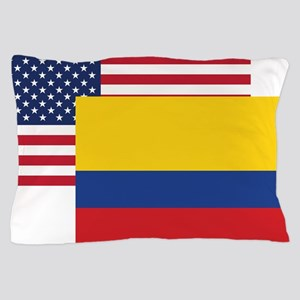 American And Colombian Flag Pillow Case