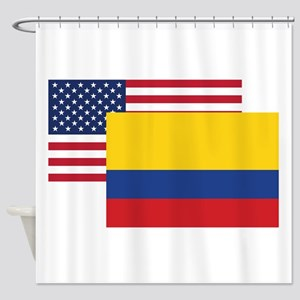 American And Colombian Flag Shower Curtain