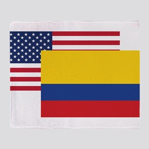 American And Colombian Flag Throw Blanket
