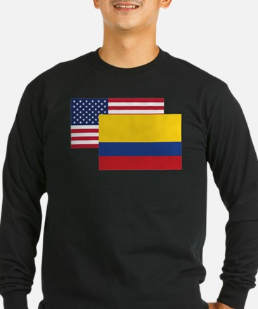 American And Colombian Flag Long Sleeve T-Shirt